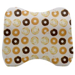 Donuts Pattern With Bites Bright Pastel Blue And Brown Cropped Sweatshirt Velour Head Support Cushion by genx