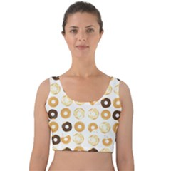 Donuts Pattern With Bites Bright Pastel Blue And Brown Cropped Sweatshirt Velvet Crop Top