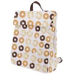 Donuts Pattern With Bites Bright Pastel Blue And Brown Cropped Sweatshirt Flap Top Backpack by genx