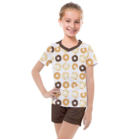 Donuts Pattern With Bites Bright Pastel Blue And Brown Cropped Sweatshirt Kids  Mesh Tee And Shorts Set by genx