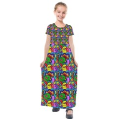 Graffiti 3 1 Kids  Short Sleeve Maxi Dress