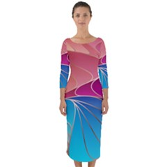 Modern Colorful Abstract Art Quarter Sleeve Midi Bodycon Dress by tarastyle