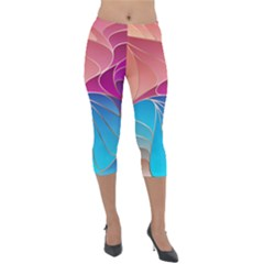 Modern Colorful Abstract Art Lightweight Velour Capri Leggings  by tarastyle