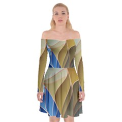 Modern Colorful Abstract Art Off Shoulder Skater Dress by tarastyle