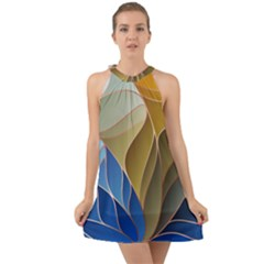 Modern Colorful Abstract Art Halter Tie Back Chiffon Dress by tarastyle