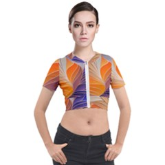 Modern Colorful Abstract Art Short Sleeve Cropped Jacket