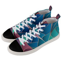 Modern Colorful Abstract Art Men s Mid Top Canvas Sneakers by tarastyle