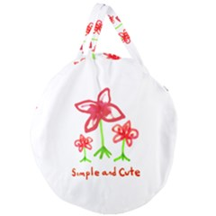 Flowers And Cute Phrase Pencil Drawing Giant Round Zipper Tote