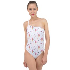 Ice Cream Cones Watercolor With Fruit Berries And Cherries Summer Pattern Classic One Shoulder Swimsuit