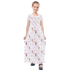 Ice Cream Cones Watercolor With Fruit Berries And Cherries Summer Pattern Kids  Short Sleeve Maxi Dress by genx