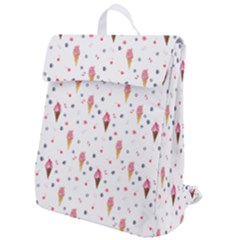 Ice Cream Cones Watercolor With Fruit Berries And Cherries Summer Pattern Flap Top Backpack by genx