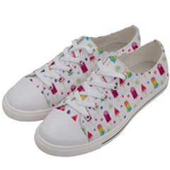 Popsicle Juice Watercolor With Fruit Berries And Cherries Summer Pattern Women s Low Top Canvas Sneakers by genx