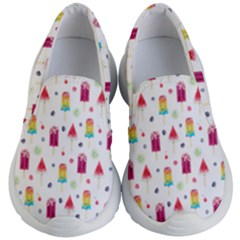 Popsicle Juice Watercolor With Fruit Berries And Cherries Summer Pattern Kids  Lightweight Slip Ons by genx