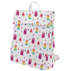 Popsicle Juice Watercolor With Fruit Berries And Cherries Summer Pattern Flap Top Backpack by genx
