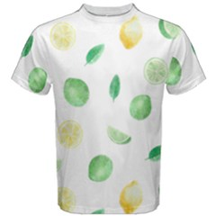 Lemon And Limes Yellow Green Watercolor Fruits With Citrus Leaves Pattern Men s Cotton Tee