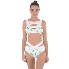 Lemon And Limes Yellow Green Watercolor Fruits With Citrus Leaves Pattern Bandaged Up Bikini Set  by genx