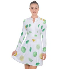 Lemon And Limes Yellow Green Watercolor Fruits With Citrus Leaves Pattern Long Sleeve Panel Dress by genx