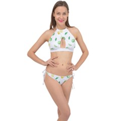 Lemon And Limes Yellow Green Watercolor Fruits With Citrus Leaves Pattern Cross Front Halter Bikini Set by genx