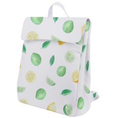 Lemon And Limes Yellow Green Watercolor Fruits With Citrus Leaves Pattern Flap Top Backpack by genx
