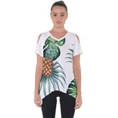 Pineapple Tropical Jungle Giant Green Leaf Watercolor Pattern Cut Out Side Drop Tee by genx