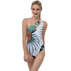 Pineapple Tropical Jungle Giant Green Leaf Watercolor Pattern To One Side Swimsuit by genx
