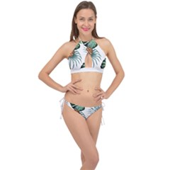 Pineapple Tropical Jungle Giant Green Leaf Watercolor Pattern Cross Front Halter Bikini Set by genx
