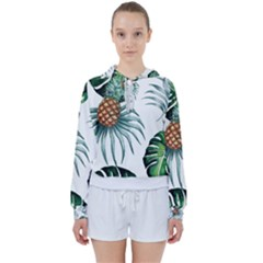 Pineapple Tropical Jungle Giant Green Leaf Watercolor Pattern Women s Tie Up Sweat by genx