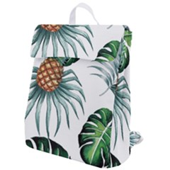 Pineapple Tropical Jungle Giant Green Leaf Watercolor Pattern Flap Top Backpack by genx