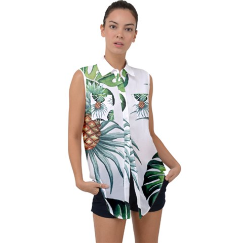 Pineapple Tropical Jungle Giant Green Leaf Watercolor Pattern Sleeveless Chiffon Button Shirt by genx