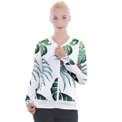 Pineapple Tropical Jungle Giant Green Leaf Watercolor Pattern Casual Zip Up Jacket by genx