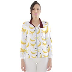 Yellow Banana And Peels Pattern With Polygon Retro Style Women s Windbreaker by genx