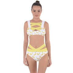 Yellow Banana And Peels Pattern With Polygon Retro Style Bandaged Up Bikini Set  by genx