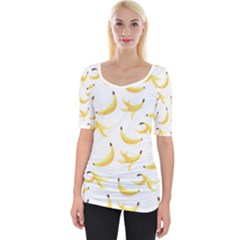 Yellow Banana And Peels Pattern With Polygon Retro Style Wide Neckline Tee by genx