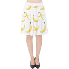Yellow Banana And Peels Pattern With Polygon Retro Style Velvet High Waist Skirt by genx