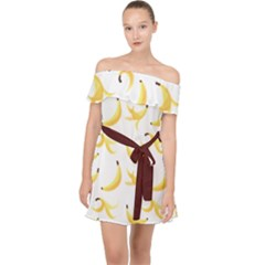 Yellow Banana And Peels Pattern With Polygon Retro Style Off Shoulder Chiffon Dress by genx