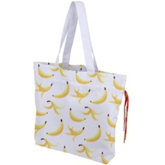 Yellow Banana And Peels Pattern With Polygon Retro Style Drawstring Tote Bag by genx