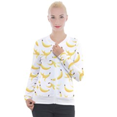 Yellow Banana And Peels Pattern With Polygon Retro Style Casual Zip Up Jacket