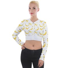 Yellow Banana And Peels Pattern With Polygon Retro Style Long Sleeve Cropped Velvet Jacket