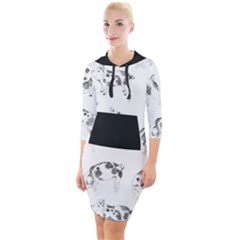 Pigs Handrawn Black And White Square13k Black Pattern Skull Bats Vintage K Quarter Sleeve Hood Bodycon Dress by genx