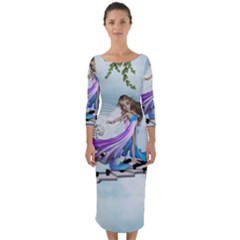 Cute Fairy Dancing On A Piano Quarter Sleeve Midi Bodycon Dress by FantasyWorld7