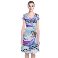 Cute Fairy Dancing On A Piano Short Sleeve Front Wrap Dress by FantasyWorld7
