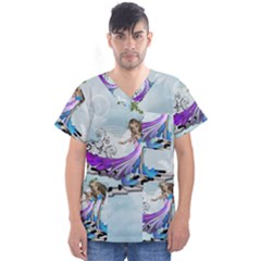 Cute Fairy Dancing On A Piano Men s V Neck Scrub Top
