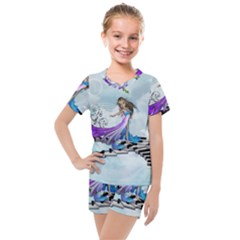 Cute Fairy Dancing On A Piano Kids  Mesh Tee And Shorts Set by FantasyWorld7