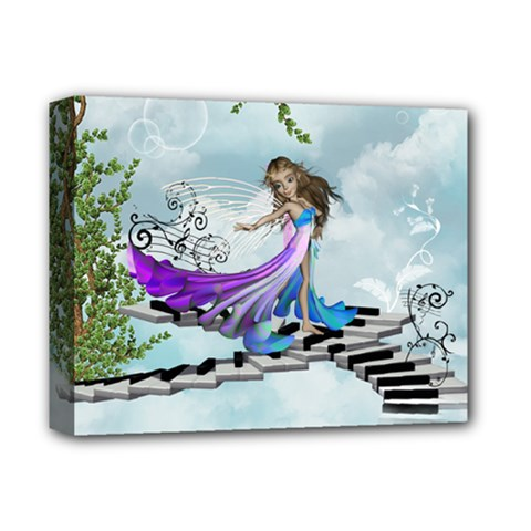 Cute Fairy Dancing On A Piano Deluxe Canvas 14  X 11  (stretched) by FantasyWorld7