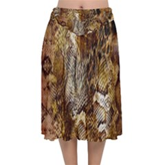Luxury Snake Print Velvet Flared Midi Skirt