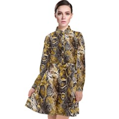 Luxury Snake Print Long Sleeve Chiffon Shirt Dress