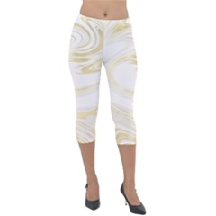 Luxury Gold Marble Lightweight Velour Capri Leggings  by tarastyle