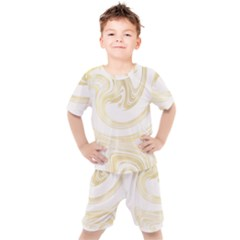 Luxury Gold Marble Kids  Tee And Shorts Set by tarastyle