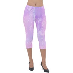Pastel Salty Watercolor Texture Lightweight Velour Capri Leggings  by tarastyle