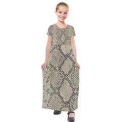 Snakeskin Pattern Lt Brown Kids  Short Sleeve Maxi Dress by retrotoomoderndesigns